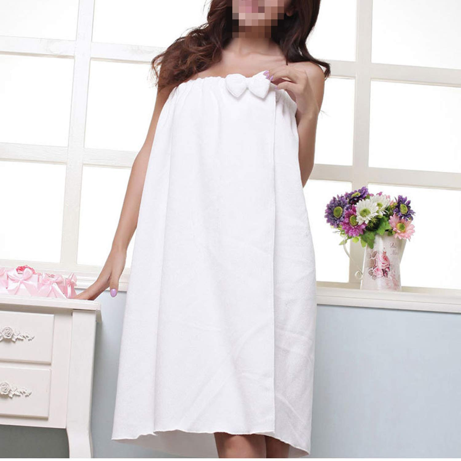 Solid Color Bathrobe, Simple Ladies Microfiber Bath Towel Tube Top Skirt Bathrobe, Suitable for Girls to Change Clothes in The Bathroom Beauty Salon White