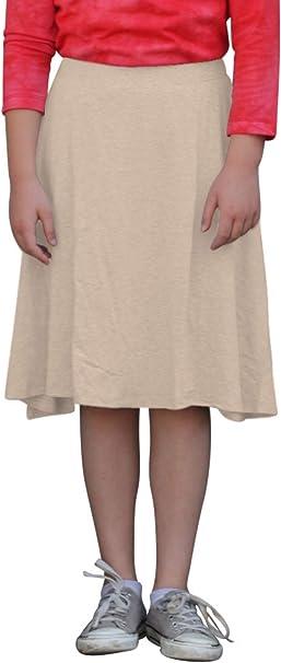 Kosher Casual Kids Big Girls Modest Knee Length Sport Skirt with Leggings
