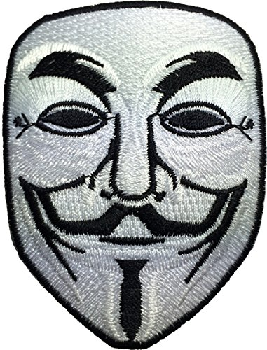 [V for Vendetta Anonymous Guy Fawkes Mask Sewing Iron on Emroidered Patch (IRON-VFOR-WH)] (Pun Costumes For Guys)
