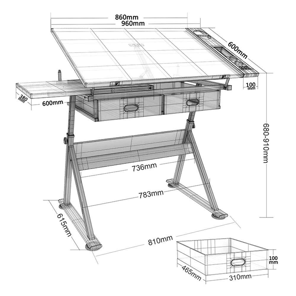 Wonderlife Adjustable Drafting Desk Tiltable Art Craft Drawing Board Table with Stool and 2 Drawers Set Oak