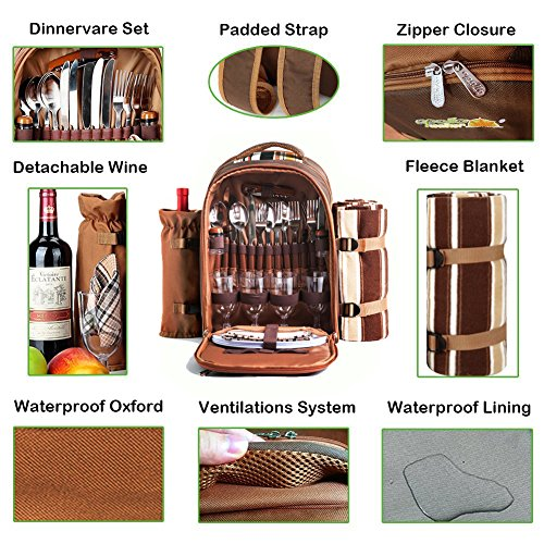 Picnic Backpack Bag for 4 Person With Cooler Compartment, Detachable Bottle/Wine Holder, Fleece Blanket, Plates and Cutlery Set Perfect for Outdoor, Sports, Hiking, Camping, BBQs(Coffee) by APOLLO WALKER (Image #5)