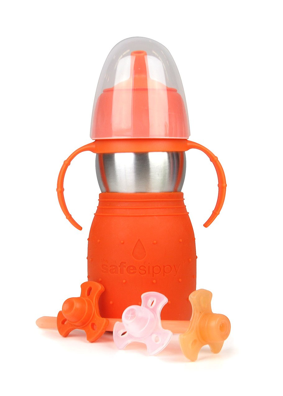 Kid Basix Safe Sippy Cup 2, The Stainless Steel 2-in-1 Sippy Cup and Straw Bottle, Orange, 11oz
