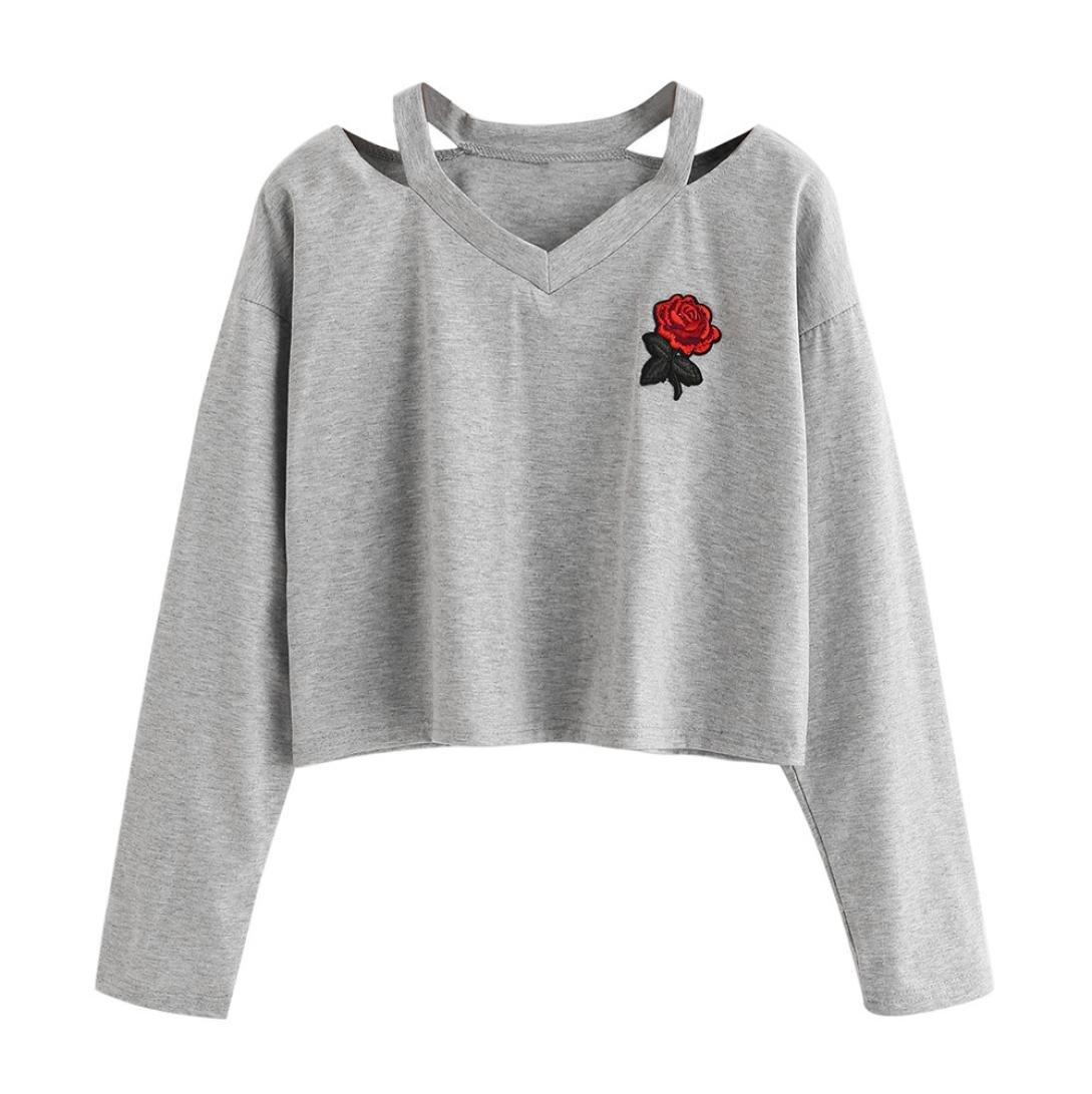 Sweat-Shirt Courte Femme, Covermason Femmes Casual Manches Longues O Neck T-Shirt Imprimé Rose Fille Pull Sweat Tops Blouse
