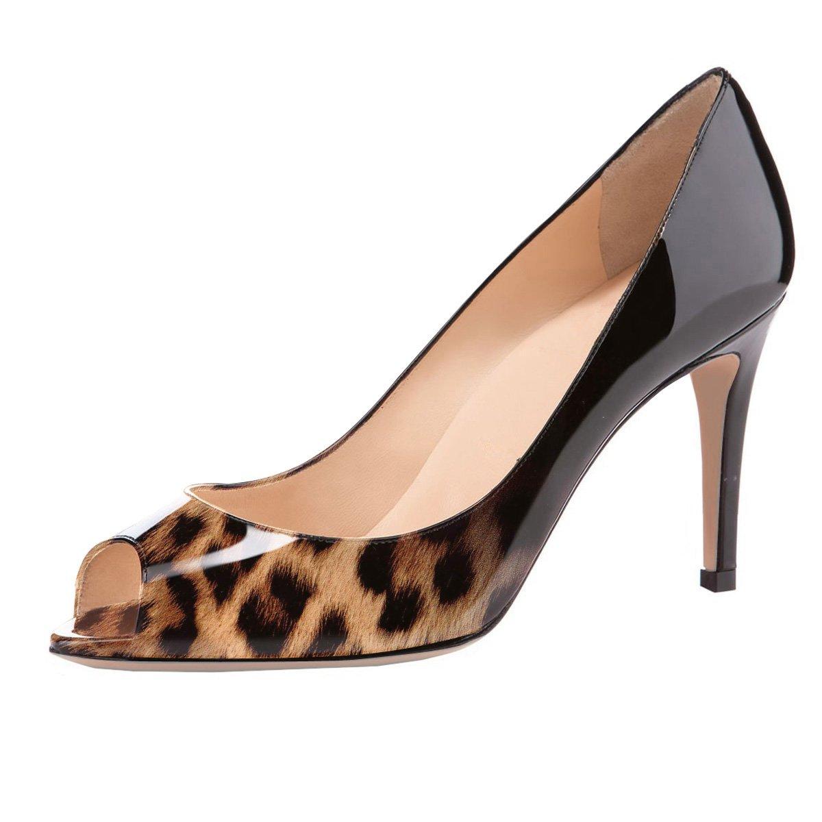 Eldof Women Peep Toe Pumps Mid-Heel Pumps Formal Wedding Bridal Classic Heel Open Toe Stiletto B07FH7S5YY 8 B(M) US|Black-leopard