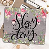 Slay the Day - Inspirational quote - Pink rustic Desk decor mouse pad - Office decoration for women