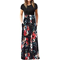 Start_wuvi2019 Women's Casual Sleeve O-Neck Print Maxi Tank Long Dress, Fashion Casual Sping Summer Retro Rockabilly Cocktail Swing Tea Dresses.