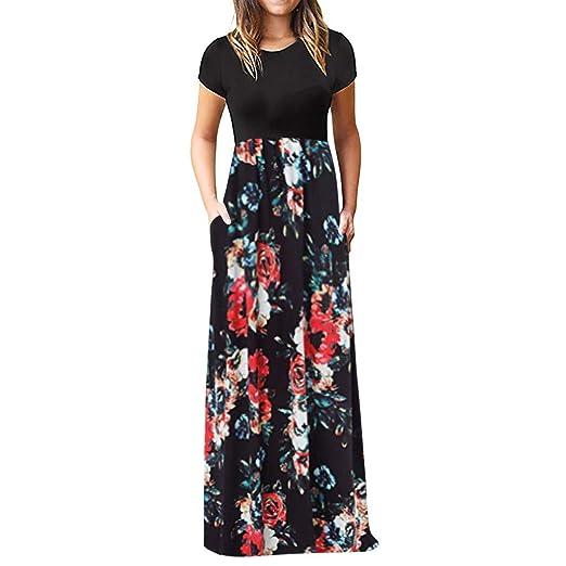 3beabaf5a0b70 Women Dress, Women Casual Dresses Womens Fashion Floral Printed Maxi Dress  Short Sleeve Party Long Sundress