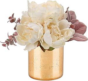 Peony Arrangement in Vase Artifical Peony Flower Decorations for Farmhouse Decor Wedding Home Kitchen Decoration-Cream Flowers Cream Decor