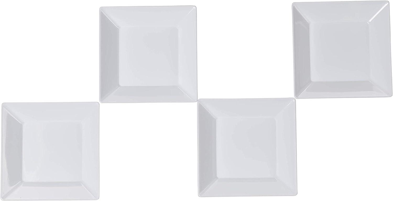 Exquisite Plastic Mini Square Appetizer Plates - 100 Ct Square plastic Dessert Plates - 2.95 Inch. x 2.95 Inch. (White)