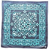 Light Blue Black Heart Paisley P40 Head Wrap Dusk Mark Bandana Scarf Handkerchief, 20 inches