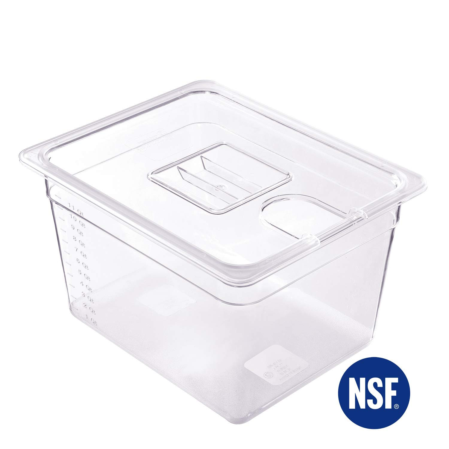 Anmade Sous Vide Container with Notched Lid 12 Quart Cooking Transparent Measurement Marks Storage Container for Sous Vide Immersion Circulator