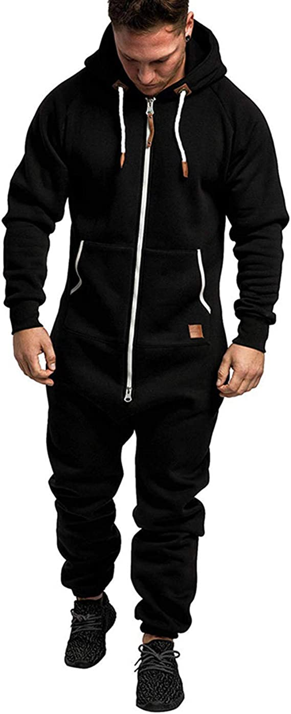 XBTCLXEBCO Mens One Piece Pajamas Jumpsuit Onesie Rompers Autumn Winter Zipper Long Playsuit