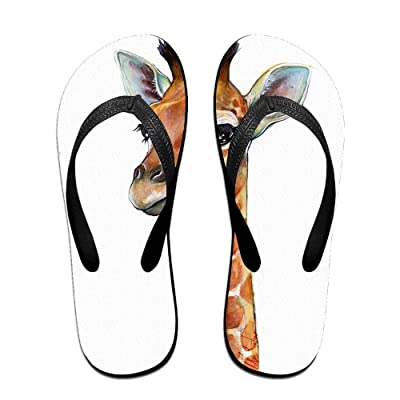 Creative Giraffe Painting Unisex Comfortable Beach Flip Flops Sandals Slippers Sandal For Home & Beach