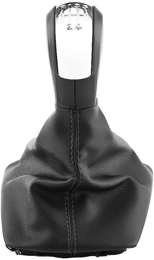 Minyinla 5 Speed Car Gear Shift Knob Gearstick Gaiter Boot Stick Head Shift Knob Cover for Skoda Octavia 2004-2012