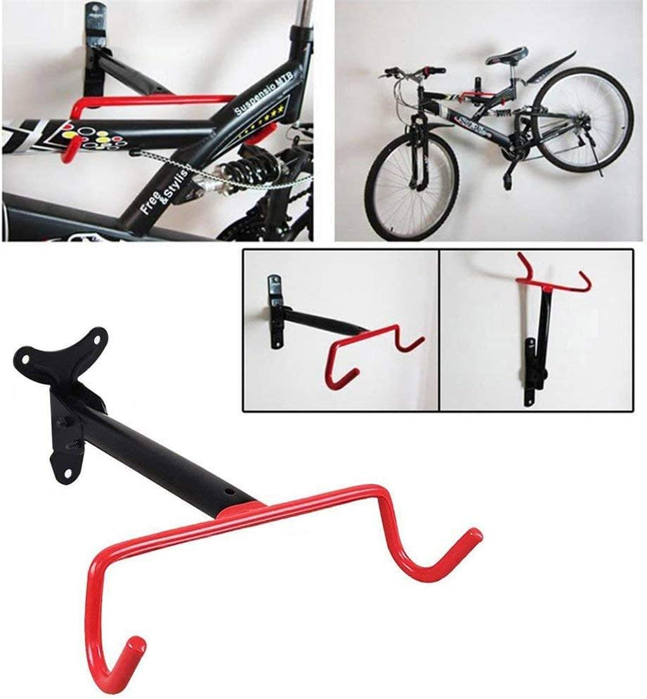Folding Bike Cycle Steel Storage Rack Dual Hook Bicycle Wall Storage Rack Bicycle Storage Hook for Outdoor Supplies Bicycle Rack Holders with Fitting Screws