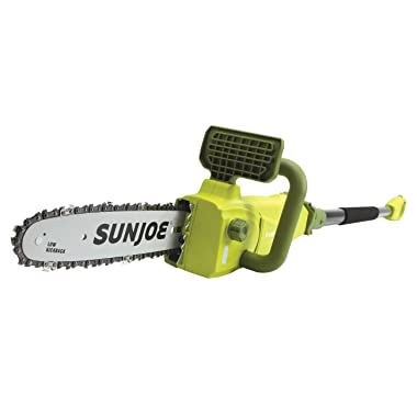 Sun Joe SWJ807E 10 inch 8.0 Amp Electric Convertible Pole Chain Saw, Green - 2 Tools In 1