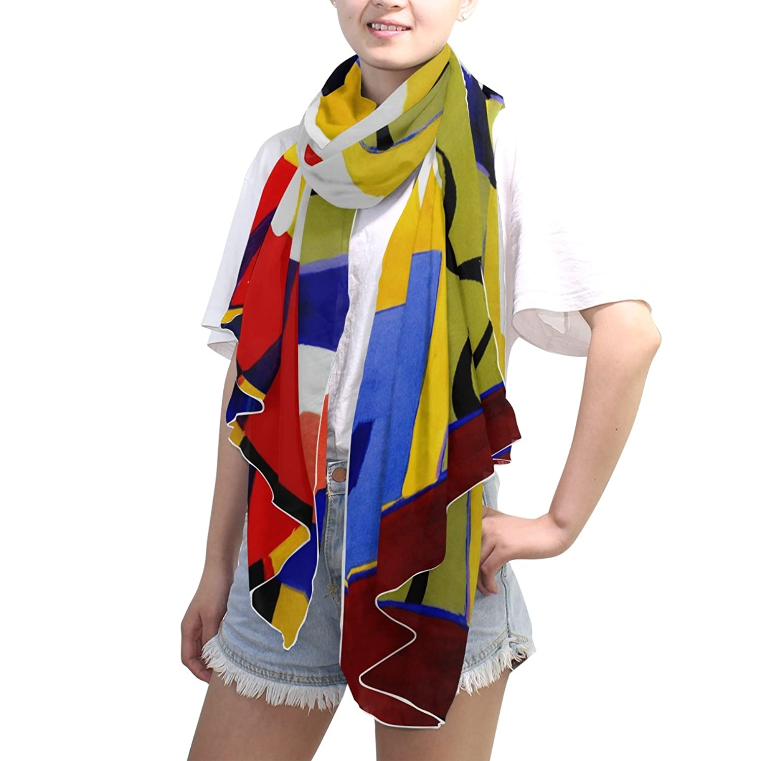 MRMIAN Oil painting Blue Red Fashion Silk Chiffon Scarves Wrap Gift