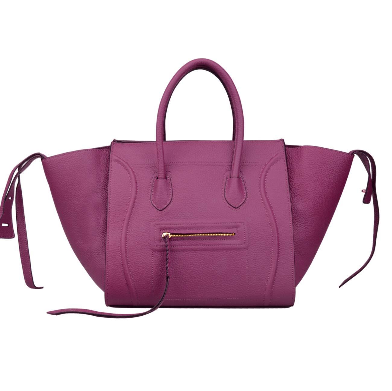 Ainifeel Women's Genuine Leather Bat Oversize Tote Bag Purse Handbags (X-large (Oversize), Purple)