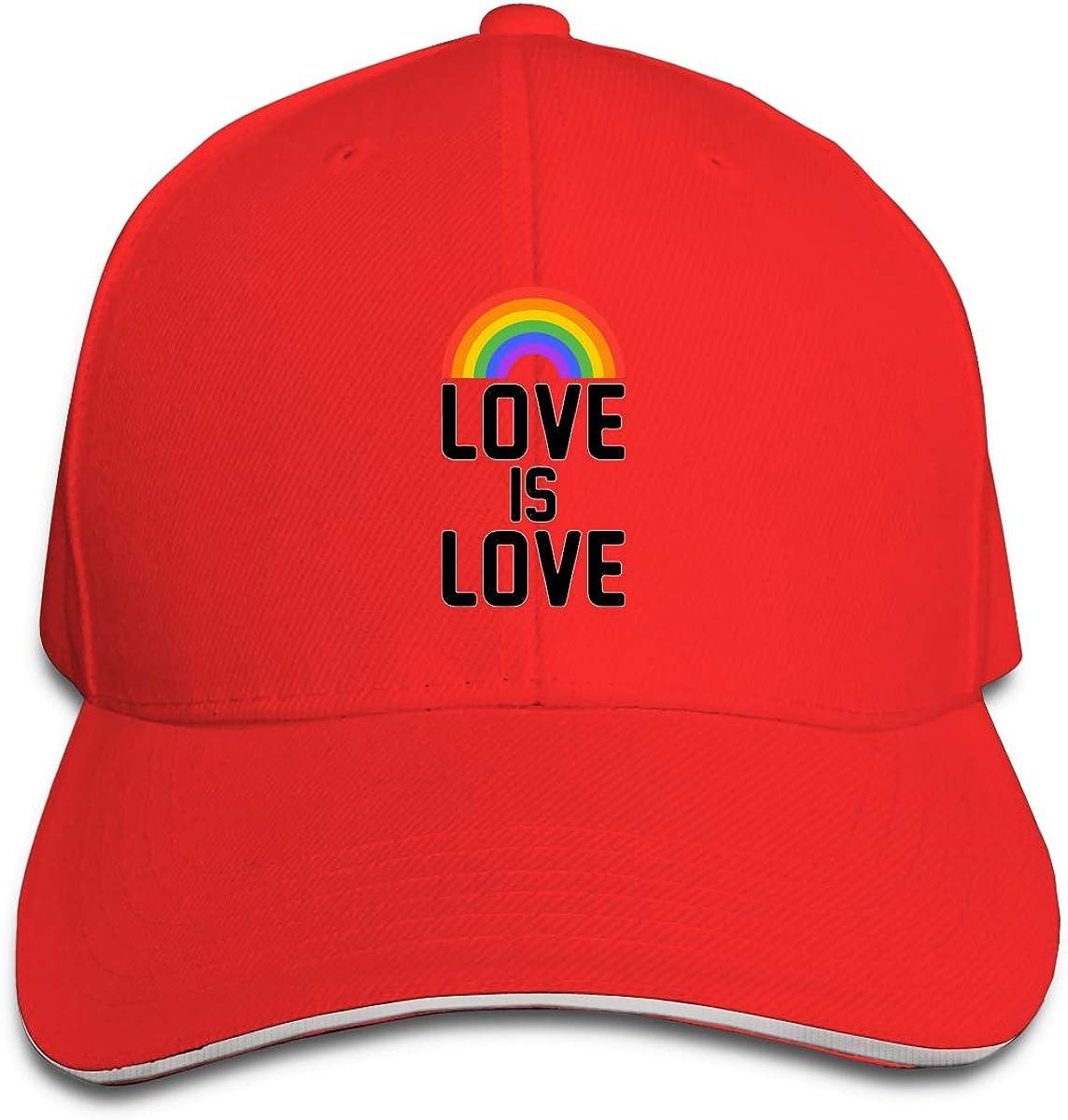 Love is Love Rainbow Outdoor Snapback Sandwich Cap Adjustable Baseball Hat Dad Hat