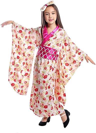 Disfraz De Kimono Japonés Para Niñas Con Patrón Floral Yukata Con Cinturón Obi Para Niños Geisha Clothing