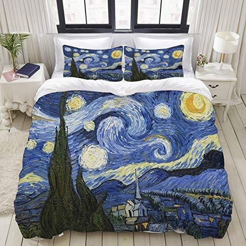 LONSANT Starry Night Van Gogh Oil Painting Studio Single Apartment Decorate Decorative Custom Design 3 PC Duvet Cover Set Queen/Full