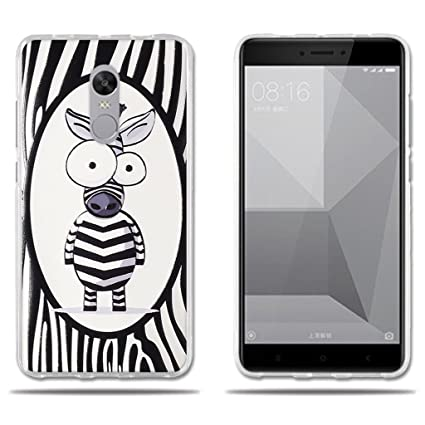 FUBAODA Funda Xiaomi Redmi Note 4X,Decorada con una Simpatic Cebra de Dibujos Animados,Carcasa Gel de TPU Silicona, Resistente a ...