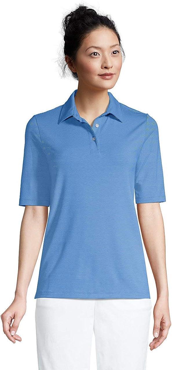 Lands End Womens Moisture Wicking UPF Sun Elbow Sleeve Polo Shirt Stripe