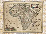 Antique Decor Fleece Throw Blanket Old Map of Africa Continent Ancient Historic Borders Rustic Manuscript Geography Throw