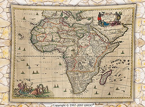 Antique Decor Fleece Throw Blanket Old Map of Africa Continent Ancient Historic Borders Rustic Manuscript Geography Throw by iPrint