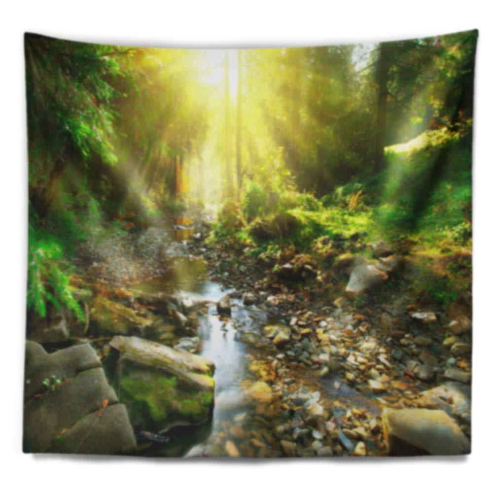 Designart TAP9128-39-32 Mountain Stream in Forest Wall Tapestry Medium//39 x 32