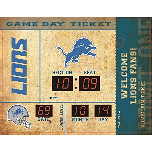 Team Sports America Bluetooth Scoreboard Wall Clock Detroit Lions, Team Color, 23