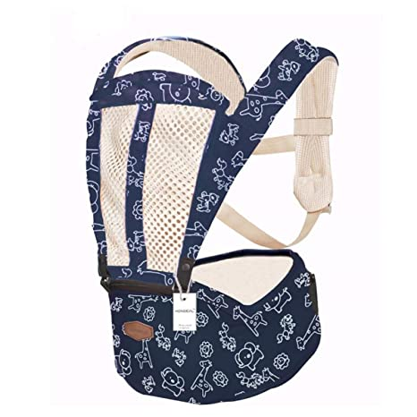 Portabebe - Mochila de canguro para bebé (ergonómica, 360º, transpirable, con asiento de cadera para bebé) azul azul Talla:OneSize
