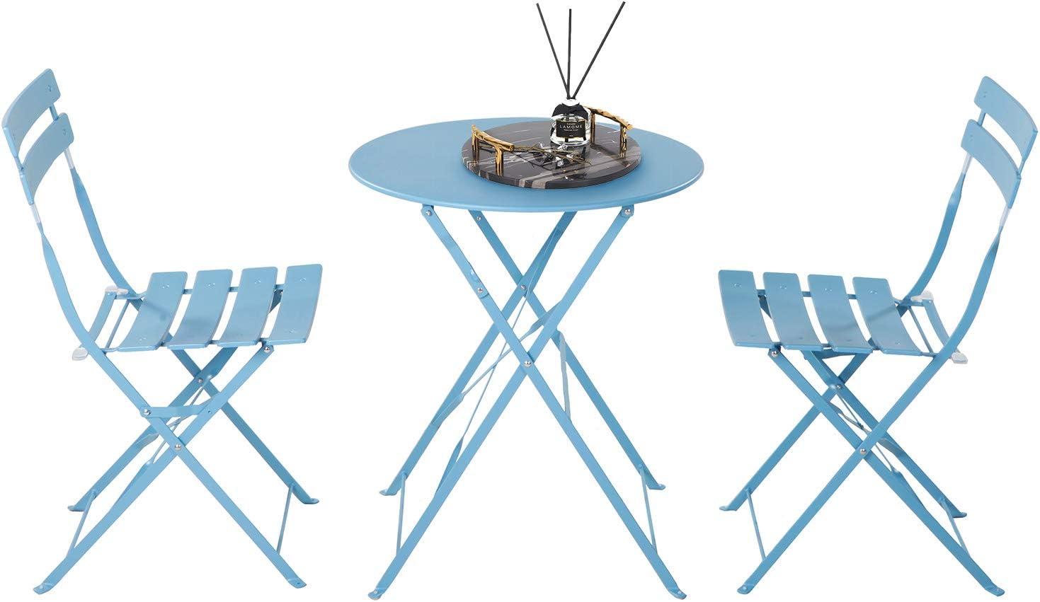 Grand Patio 3pc Metal Folding Bistro Set 2 Chairs And 1 Table Weather Resistant Outdoor Indoor Conversation Set For Patio Yard Garden Blue Garden Outdoor
