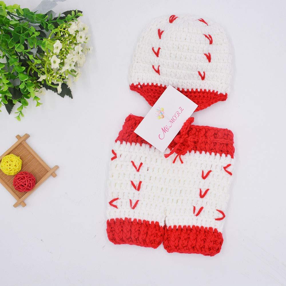 Newborn Boy Girl Baby Costume Outfits Photography Props Crochet Knit Hat Pants Wool Baseball