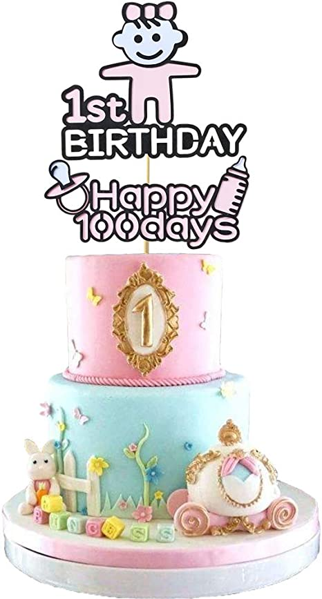 Superb Amazon Com 1St Birthday Happy 100Days Cake Toppers One Birthday Personalised Birthday Cards Veneteletsinfo