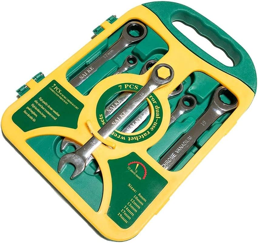 XINGJIJIJIA Surfaces 7PieceS Ratchet Combination Wrenches Set Hand Tools Metric Ratchet Spanner Set Car Repair Tool closed (Color : Green) Green