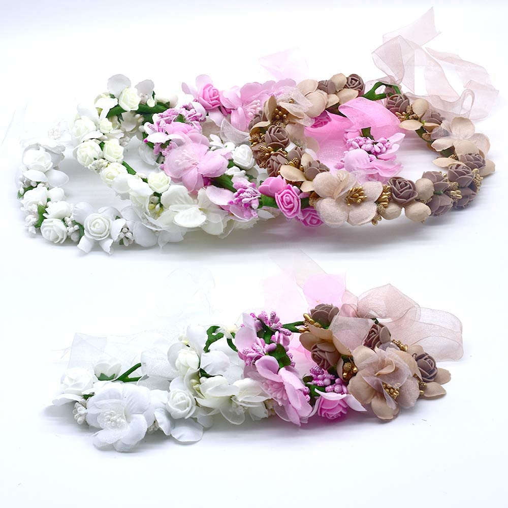 MOBRAVO R/églable Couronne de Fleurs pour Cheveux Mariage et Bracelet pour Femme Fille