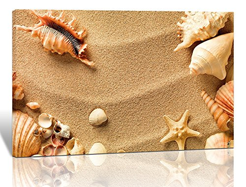 Purple Verbena Art Canvas Print of Sand Beach Seascape Picture Painting Starfishes Seashell Conch Seaview Landscape Wall Art Home Decoration for Living Room Bedroom Artwork Décor,Framed by 10x14 inch