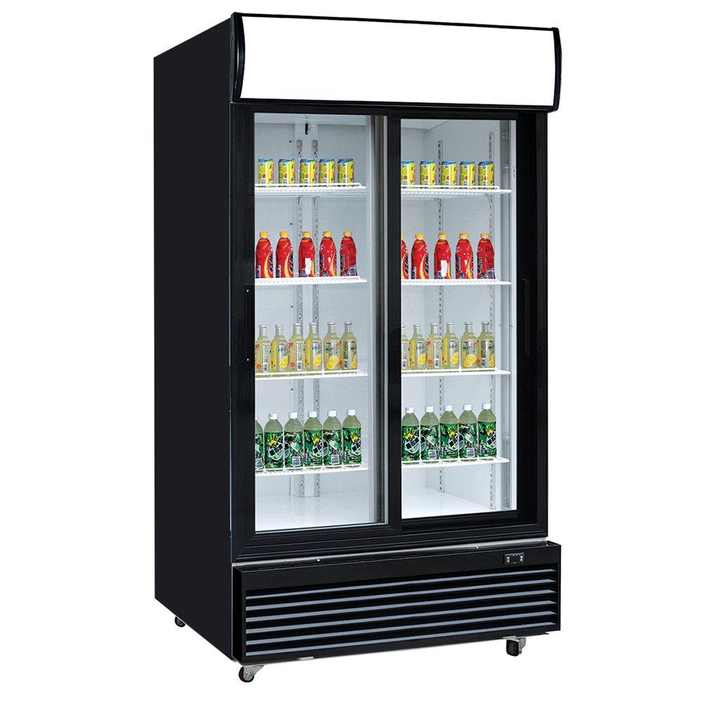 Dukers Appliance USA DUK600172574547 Double Glass Sliding Door Merchandiser Refrigerator, 47'' Width x 31'' Depth x 79'' Height- 33 cu. ft., Black