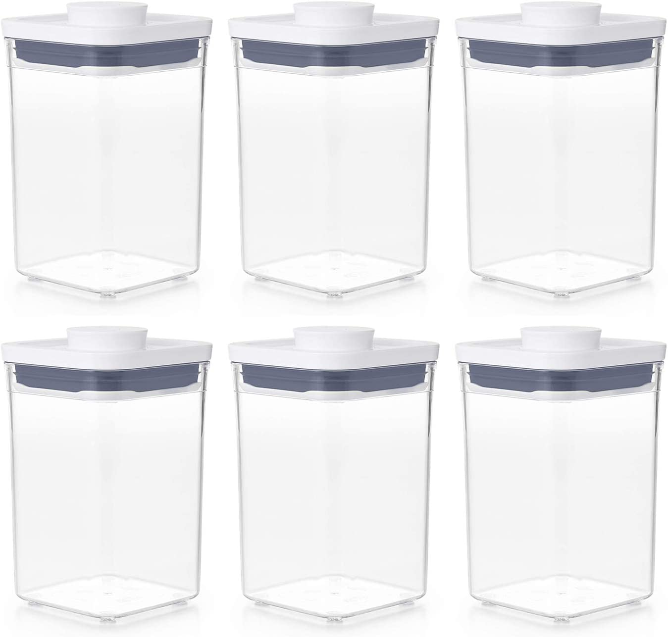 OXO 11234000 Good Grips Pantry Organization Airtight Short 1.1 Quart Bulk Food Storage POP Container Made of BPA Free Plastic, Clear (6 Pack)