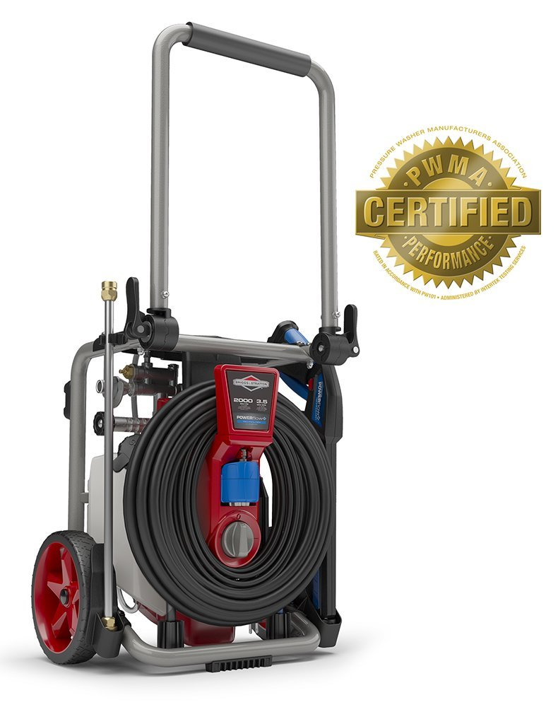 Briggs & Stratton 20667 Electric Pressure Washer 2000 PSI 3.5 GPM POWERflow+ Technology, 7-in-1 Nozzle, 25-Foot Hose & Detergent Tank