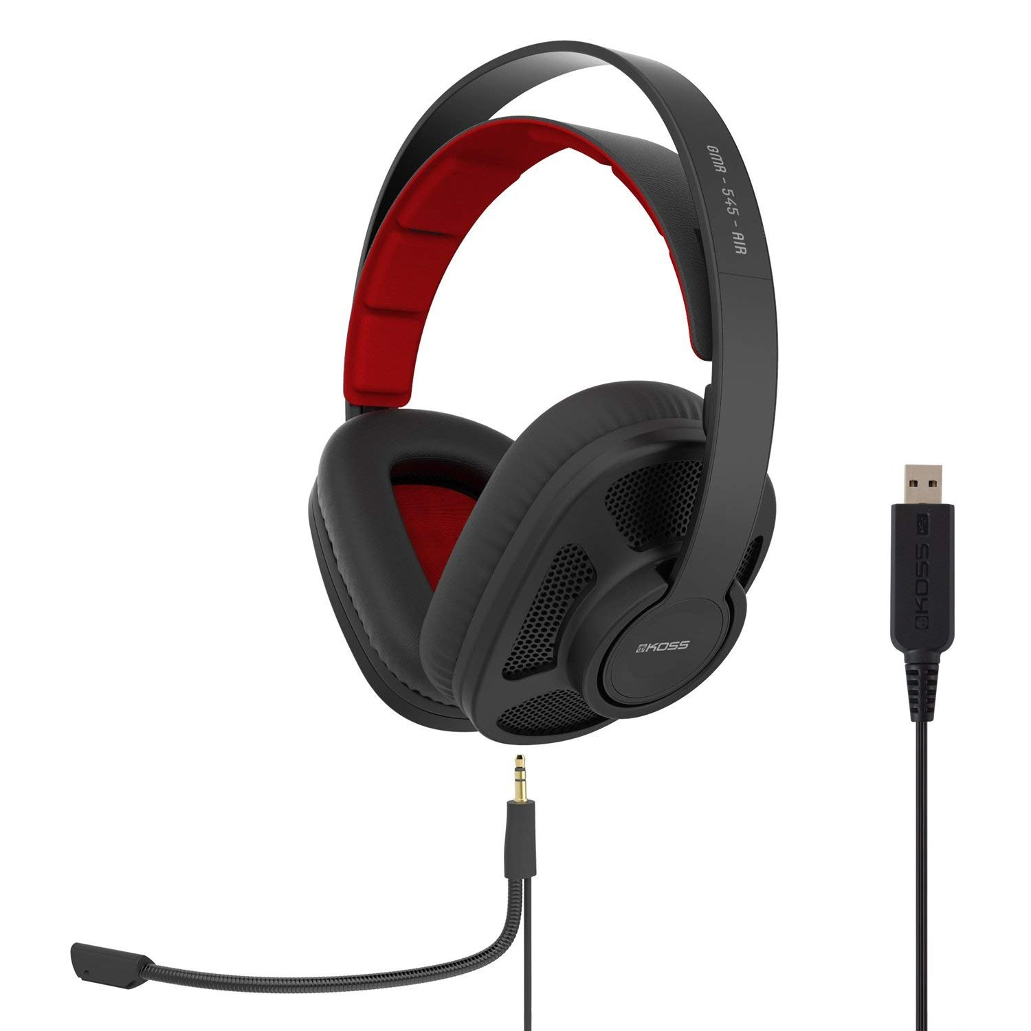 Koss GMR-545-AIR USB Open-Back Gaming Headphones | Detachable Cord Design | Two Cords with Microphones Included | Light Weight | Connects via USB