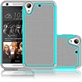 HTC Desire 626/626s Case,ARMORCOO(TM) Honeycomb Raised Lip Heavy Duty Soft Rubber Inner + Hard PC Outer Dual Layer Hybrid Slim Fit Shock Absorbing Impact Defender Case Cover for HTC 626 626s (Teal)