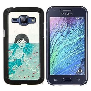 TECHCASE---Cubierta de la caja de protección para la piel dura ** Samsung Galaxy J1 J100 ** --Chica bajo el agua
