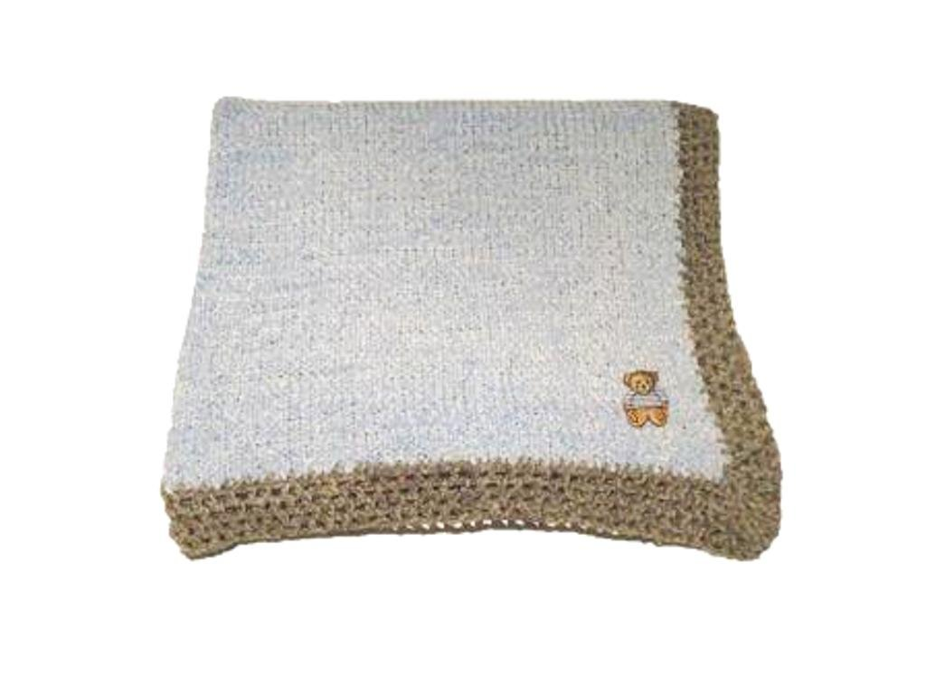 Knitted Blue Chenille Infant Blanket Grey Hand Crochet Trim Teddy Bear Patch *