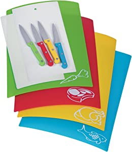 Progressive International Prepworks by Progressive 10 Piece Chopping Mat and Knife Set, green, red, orange, blue