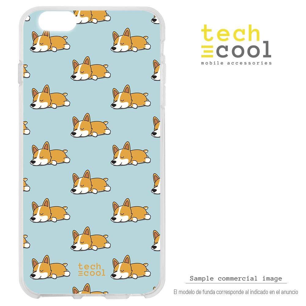 Funnytech® Funda Silicona para Xiaomi Mi A2 [Gel Silicona Flexible, Diseño Exclusivo] Patron Perros Fondo Azul Version 2