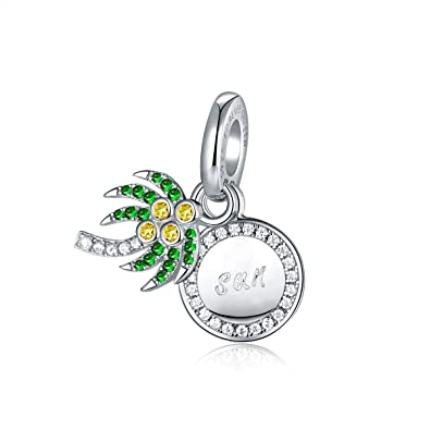 6a2e6d0a1048e Sparkling Coconut Tree 925 Sterling Silver Charms Cubic Zirconia ...