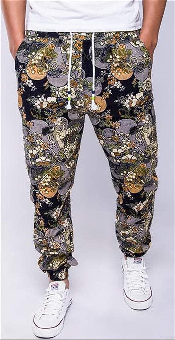 Etecredpow Mens Ethnic Style Print Elastic Waist Drawstring Long Harem Pants