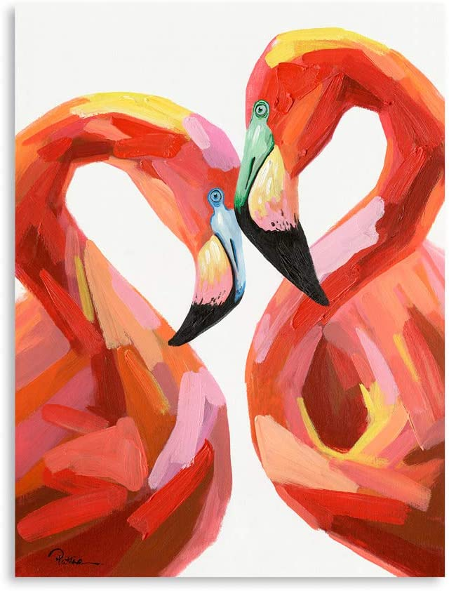"Pink Flamingo Wall Decor: Flamingo Bathroom Decor Gallery Wall Frame Set Paintings for Living Room Framed Ready to Hang (24""x32""x1 Panel)"